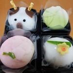 御菓子司 福岡屋  - うしさん、若竹、梅にうぐいす、水仙