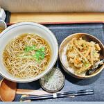 手打ちそば天ぷら 那央人 - 牡蠣と野菜のかき揚げ天丼とかけそば