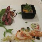 zoe's - カンパチのカルパッチョ・バラカルビのタリアータ・赤海老のソテー