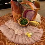 玄海の活魚と糸島直送の食 博多居酒屋 どげん海 - 本日入荷 お任せ活き造り アカハタ