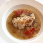 143789940 - 鱈のロースト 白菜のエチュベ 焦がしバターのソース