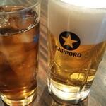 珉珉 - 私の生ビール  主人のウーロン茶❤️