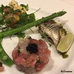ボン・クラージュ - メバチ鮪と鮃のタルタル、秋刀魚のマリネ、帆立のエスカベシュ
