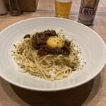 下川六〇酵素卵と北海道小麦の生パスタ 麦と卵 - 自家製北海道キーマ風スパイシーミートソース(下川六〇酵素卵)添え