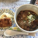 ねこや食堂 - カツカレーうどんとドンコフライ(900円+100円)