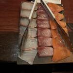 個室で味わう彩り和食 蔵富や - しゃぶしゃぶ用 鯛、鰤、サーモン