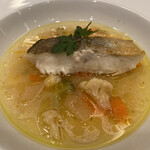 143945847 - 鱈のポワレ 塩漬けレモン風味の野菜添え