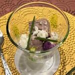クリマ ディ トスカーナ - 対馬のイノシシのテリーヌ カステルマーニョ 余市の洋梨 紫カリフラワー ホロホロっとしたカステルマーニョチーズの風味と塩味に、イノシシのしっとりとしたテリーヌ、洋梨の甘味が合いますね(^^♪
