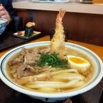 乃きや - 肉うどん+卵+海老天