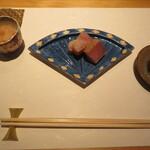 Sushiobino - 鰤の藁焼きとボタン海老の酒盗和え