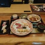 Gyoshouan - ヒレかつと寿司御膳に寒ブリとかわはぎの握り
