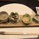 Mangetsuibukiyokohamatsuruyachou - 前菜。白子ポン酢が美味しい