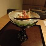 半くり - 海老と夏野菜の白和え