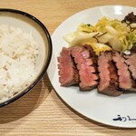 Gyutansumiyakirikyuu - 牛タン極焼4枚8切と麦飯