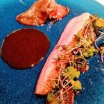 レストランKEI - 豊橋産あいち鴨ムネ肉のロティ 鈴木養蜂園 完熟ハチミツのアロマ