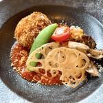 144070780 - 蟹味噌クリームコロッケと鶏のグリル