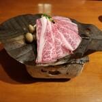 Hidaizakayakurasuke - 飛騨牛カルビの朴葉みそ焼き