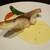 ビストロ セルクル - 料理写真:真鯛のポワレ:まずまずの大きさの 皮はパリッと、身はふんわりな鯛のポワレの下には クリーミーなサフランクリームソースが敷かれています。ソテーしたシメジの傘、舞茸が添えられています。     2021.01.07