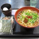 ゆで太郎 - 肉モヤシあんかけ中華580円、焼きのり100円、無料クーポンは生たまご