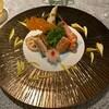 梨杏 - 料理写真:モンゴウイカとパプリカの和え物、紹興酒で味付けした才巻き海老、穴子、金目鯛、菊蕪他前菜盛り合わせ