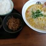 楽園 - 牛かすグリーンらぁ麺('-'*)御飯小鉢セット