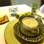 144105808 - 【ゴボウと松の実のポタージュ】                       アツアツで、食感まで感じる旨みのあるポタージュ。