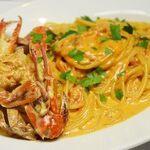 スパゲッティ 渡り蟹のトマトクリームソース