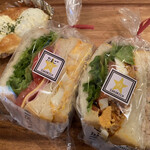 ベーカリーホシノ - タンドリー&ツナサンド  ¥350- 煮玉子&BLTサンド ¥350- 玉子ちゃん ¥180-