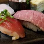 池袋西口 肉寿司 - 鴨、ローストビーフ。