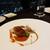 スカイレストラン634 - ③温かい前菜:フォアグラのガトー仕立て ビールと柿のガストリックソース。