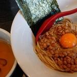 雨ニモマケズ - 料理写真:地鶏油の月見納豆まぜそば¥650