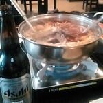 144276192 - 大瓶ビールと鍋