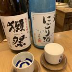 ぬる燗 ぞっこん 離れ - 獺祭(純米大吟醸45)   山口県 八鹿(にごり酒)   大分県