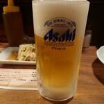かわ屋 - 生ビール中(アサヒ)