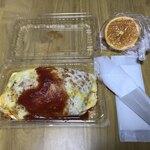 ひまわり - 料理写真:オムライスと、頂いたフルーツ