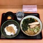 そばうどん 元長 - 料理写真:朝定食430円、ソーセージ天&なめたけ丼