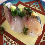 釜石ごん太 - 料理写真:鮮アジにぎり!甘めの寿司飯がいい!脂が美味しい!生姜が効いてる!