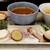 """麺屋 波 - 本日いただいたのは、""""カレーつけ麺""""並盛/150g、フルトッピング、太麺、中辛に、おすすめトッピングのモッツァレラチーズもお願いしました。"""