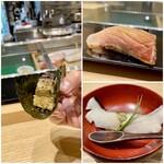 144373625 - 左:鯖の棒寿司                         右上:鰤の漬け                         右下:鰆の蒸し寿司