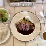 Bisutoropoppuakoko - 日替わりランチ カイノミステーキ 全貌