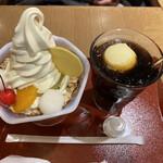 舟和 - 舟和の芋パフェ、コーヒーフロート