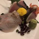 麦酒庵 - 鯛、炙り鰹、〆サバ