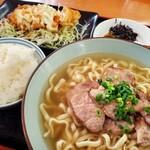 くわっちぃ食堂 青空 - 料理写真:豚ロース炙りそば と チキン南蛮
