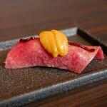 焼肉うしごろ - ☆肉寿司ウニのせ(*^。^*)☆