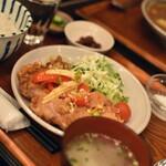 カフェ カスガ - 油淋鶏&えびワンタンスープ定食(1,050円)2021年1月