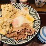 へんろみち - まいたけ天温玉肉ぶっかけ950円