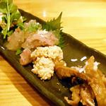 焼鶏処 田楽 - 前菜3点盛り+豆腐味噌漬け