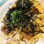 久佑 - レンジで軽くチンし、お皿に移し替えました。糸海苔はお店の付け添えです