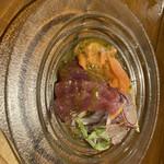 #802 CAFE&DINER - - サーモンとマグロのカルパッチョ盛り合わせ