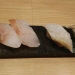 鮨・酒・肴 杉玉 - 左:炙りキンキ、右:八角